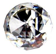 OVO® TEZ® 40mm Clear Cut Crystal Glass Knobs Handles - Matt Satin Silver